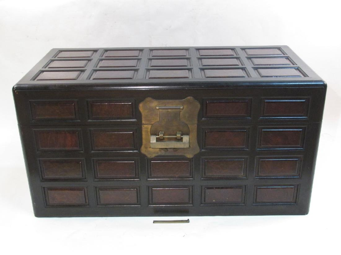 LARGE CHINESE STYLE BURLED WOOD & BRASS CHEST