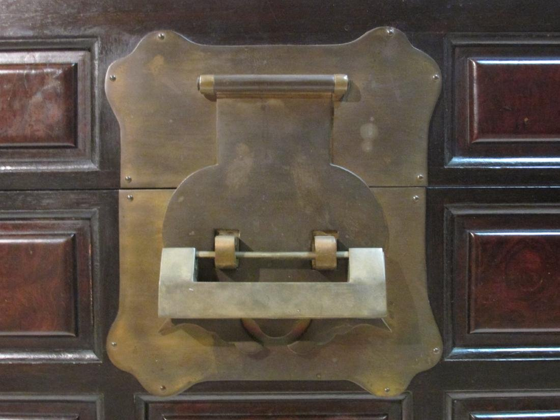 LARGE CHINESE STYLE BURLED WOOD & BRASS CHEST - 2