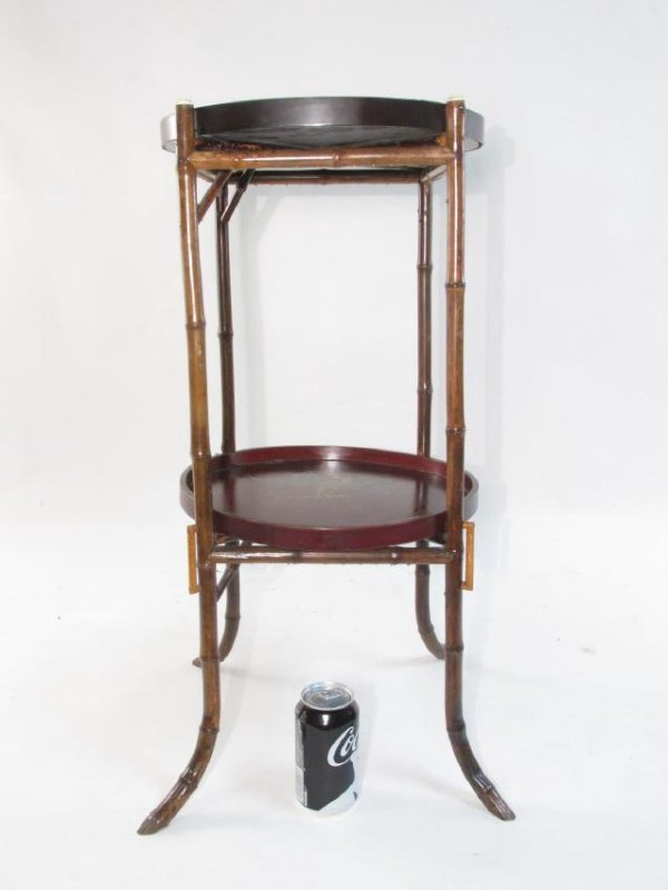 JAPANESE MEIJI BAMBOO & LACQUERWARE SIDE TABLE - 10