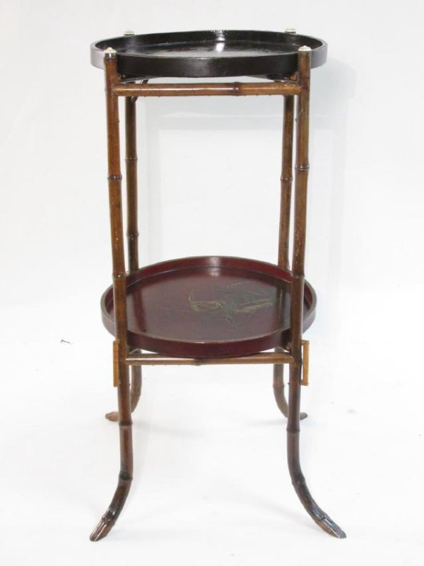 JAPANESE MEIJI BAMBOO & LACQUERWARE SIDE TABLE