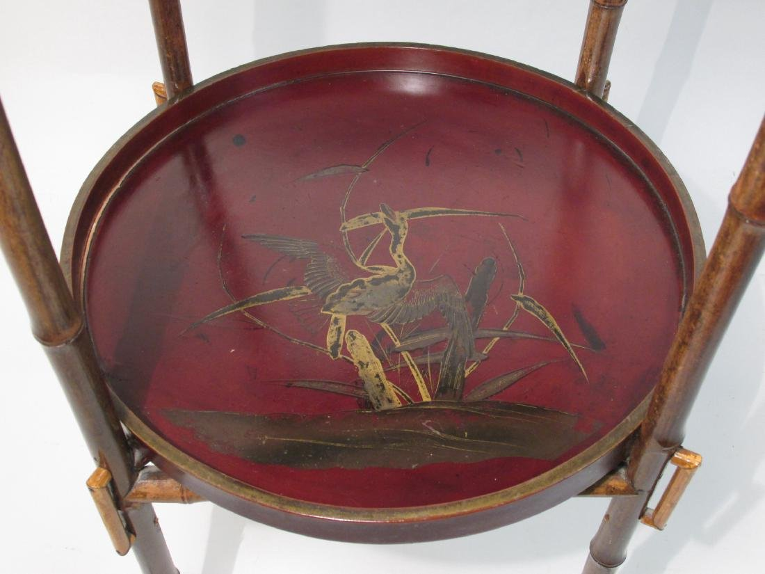 JAPANESE MEIJI BAMBOO & LACQUERWARE SIDE TABLE - 6