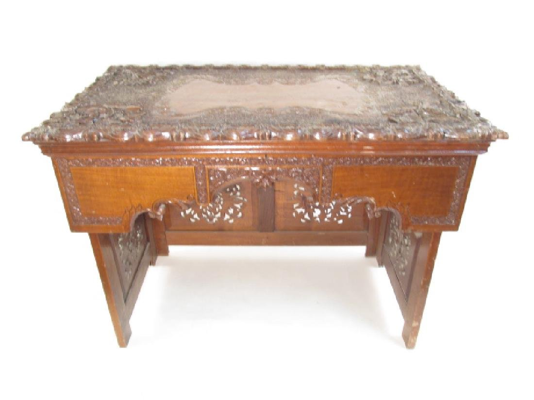 CHINESE CARVED HARDWOOD FOLDING TRAVELERS DESK