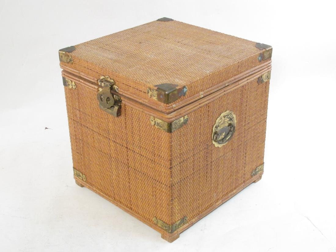 VINTAGE CHINESE RATTAN STORAGE BOX
