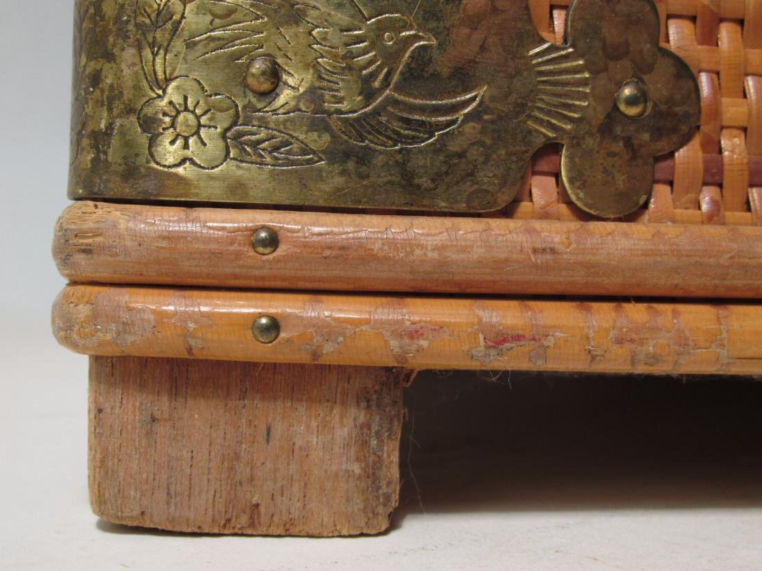 VINTAGE CHINESE RATTAN STORAGE BOX - 4