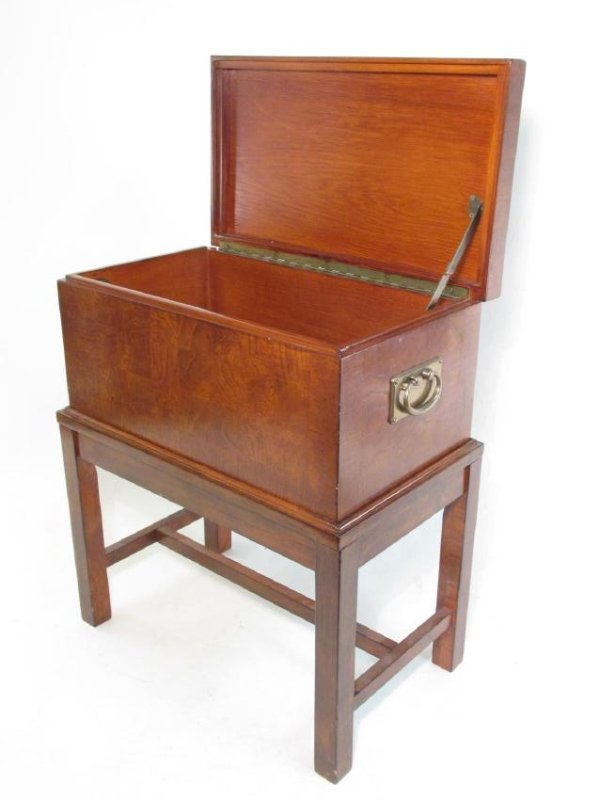 VINTAGE BURLED WOOD CHEST ON STAND