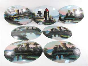 EIGHT ANTIQUE REVERSE PAINTED CONVEX GLASS PANELS