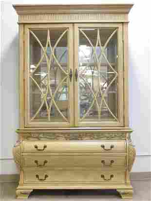 LARGE CREAM COLORED TWO PIECE CHINA DISPLAY CABINE