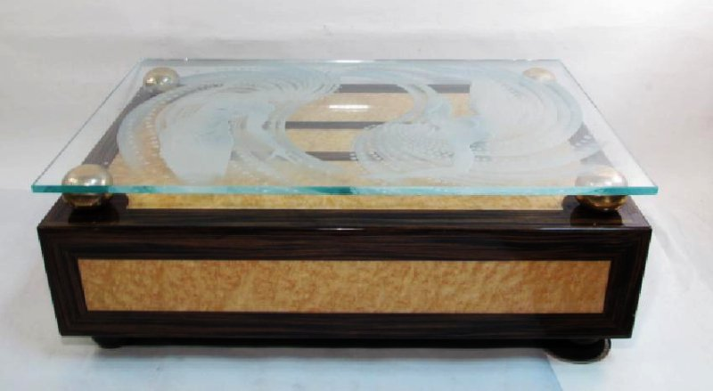ART DECO INLAID WOOD & GLASS COCKTAIL TABLE