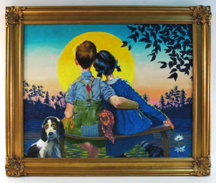 ROCKWELL STYLE R.C. BAILEY OIL ON CANVAS PAINTING