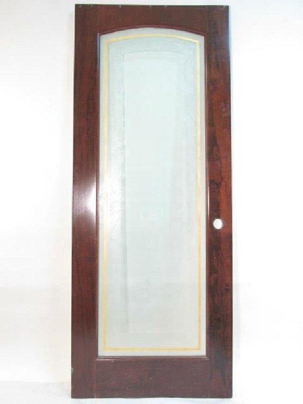 VINTAGE ART DECO WOOD & GLASS DOOR