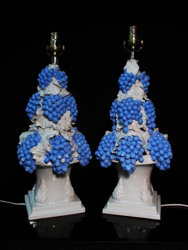 PAIR VINTAGE ITALIAN GRAPE BUNCH PORCELAIN LAMPS