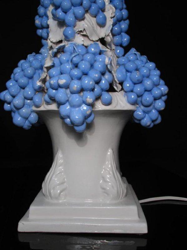 PAIR VINTAGE ITALIAN GRAPE BUNCH PORCELAIN LAMPS - 5