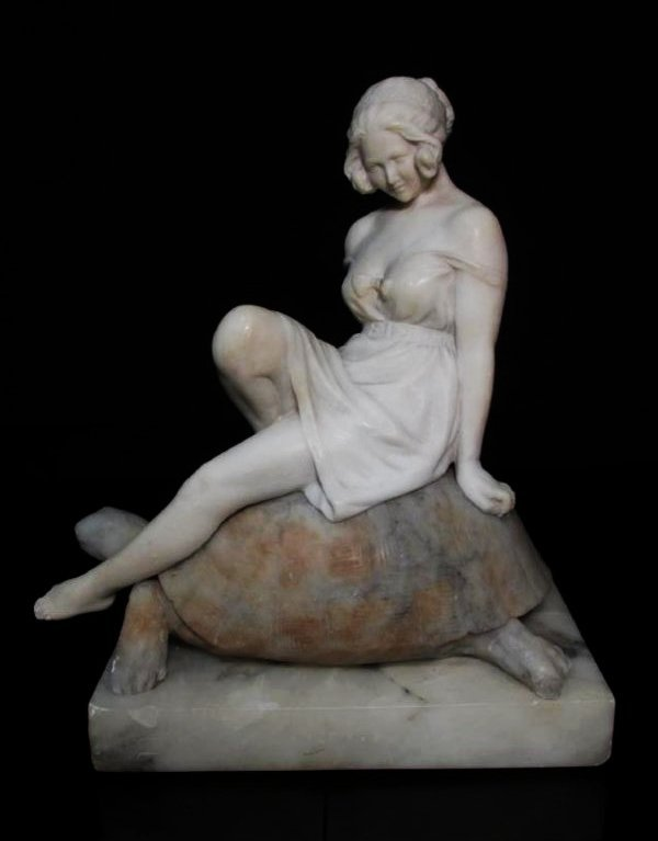 VICTORIAN CARVED CARRERA MARBLE GIRL ON A TORTOISE