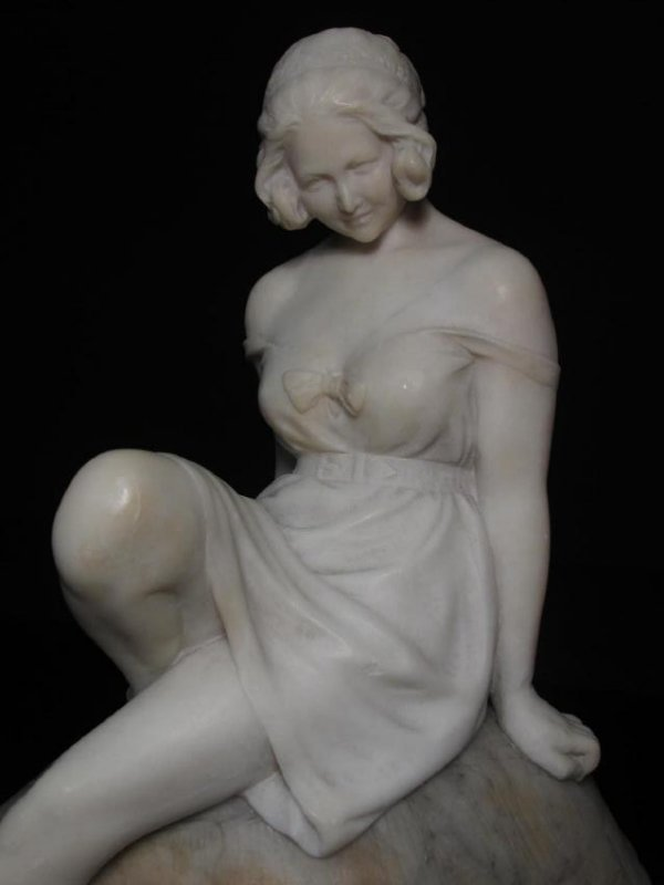 VICTORIAN CARVED CARRERA MARBLE GIRL ON A TORTOISE - 4