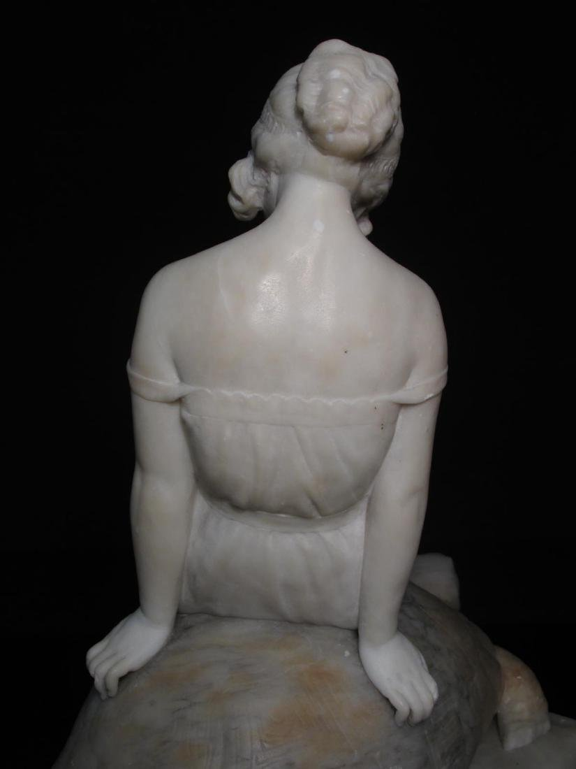 VICTORIAN CARVED CARRERA MARBLE GIRL ON A TORTOISE - 7