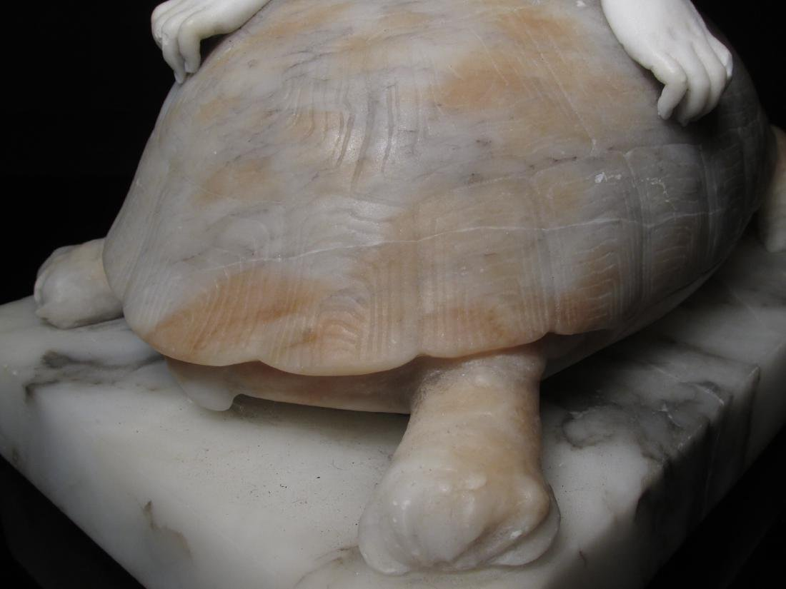 VICTORIAN CARVED CARRERA MARBLE GIRL ON A TORTOISE - 8