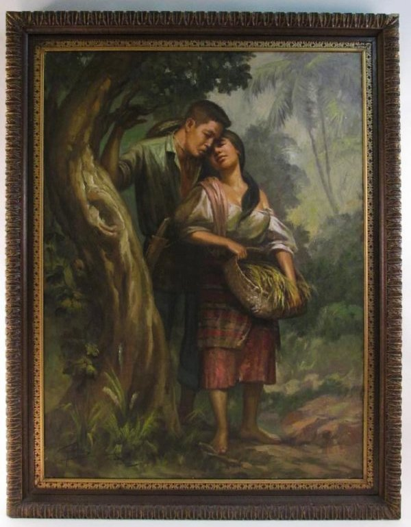 VINTAGE SIMON SAULOG PHILIPPINE OIL ON CANVAS PAINTING