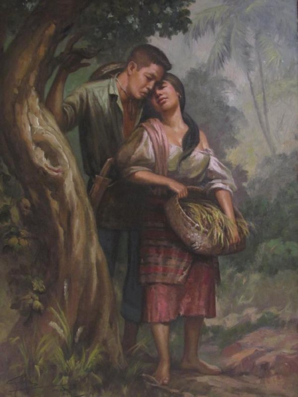 VINTAGE SIMON SAULOG PHILIPPINE OIL ON CANVAS PAINTING - 2