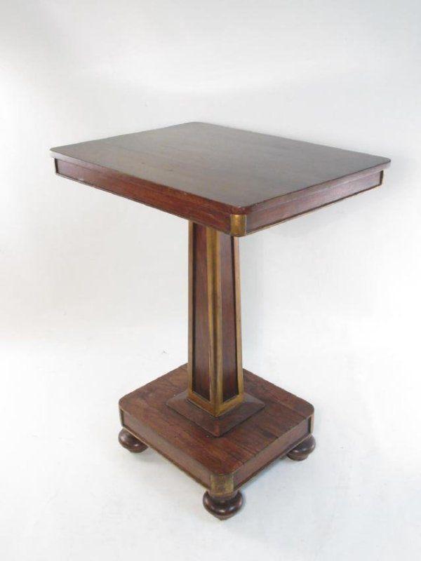 EMPIRE CARVED WALNUT PEDESTAL SIDE TABLE
