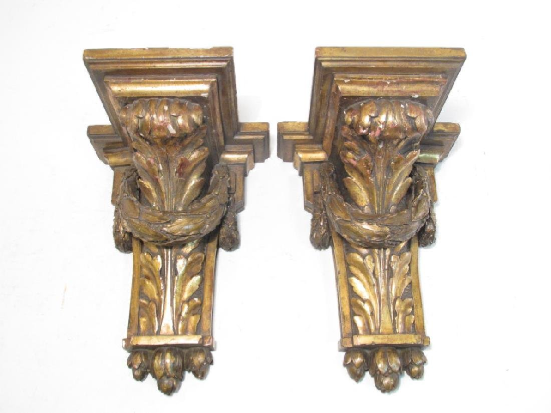PAIR EMPIRE CARVED WOOD WALL BRACKETS.