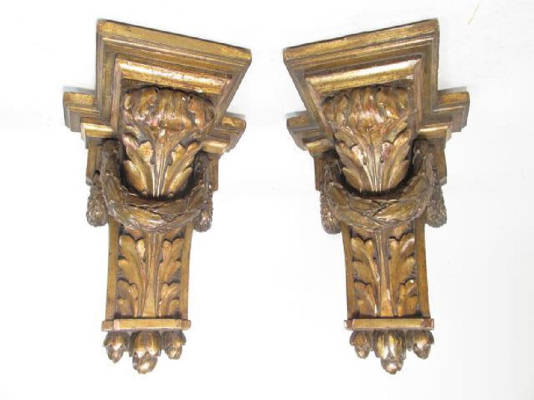 PAIR EMPIRE CARVED WOOD WALL BRACKETS. - 2
