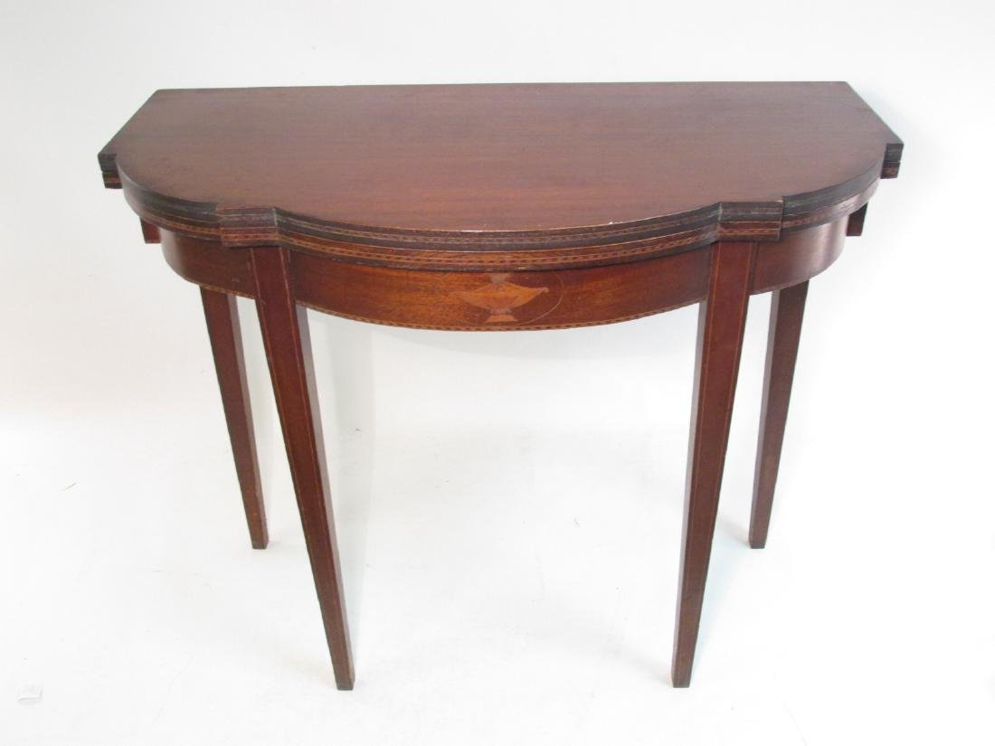 19TH C FEDERAL STYLE MARQUETRY INLAID FLIP TOP TAB