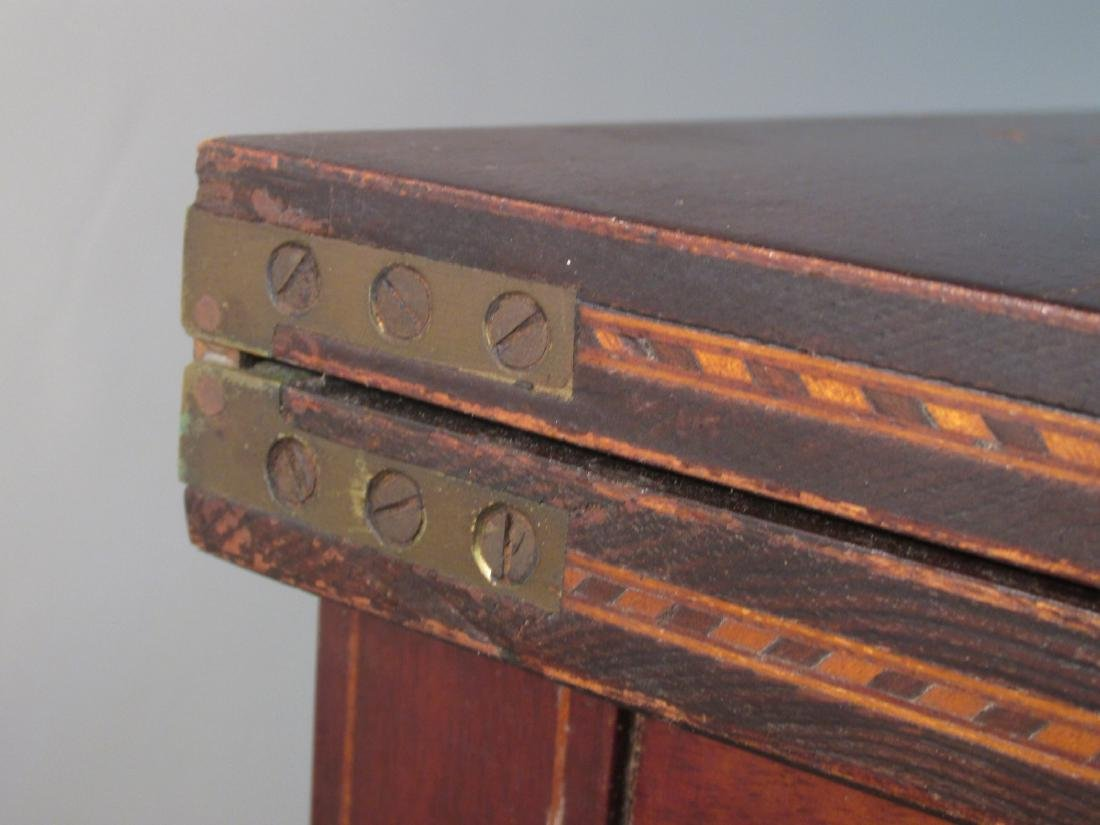 19TH C FEDERAL STYLE MARQUETRY INLAID FLIP TOP TAB - 3