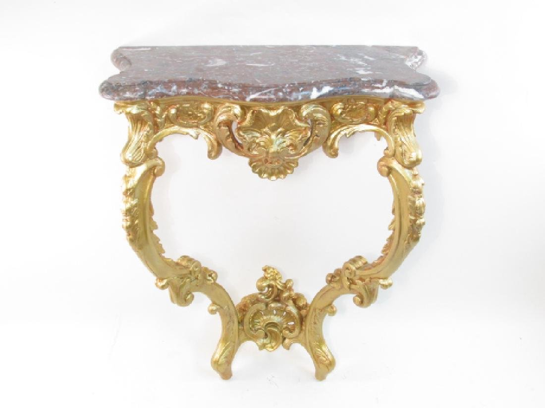 LOUIS XV GILTWOOD & MARBLE CONSOLE TABLE