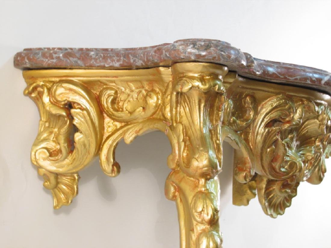 LOUIS XV GILTWOOD & MARBLE CONSOLE TABLE - 5