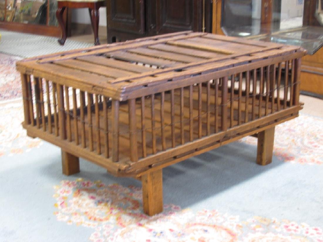 ANTIQUE WOODEN CHICKEN CRATE CONVERTED TO COFFEE TABLE