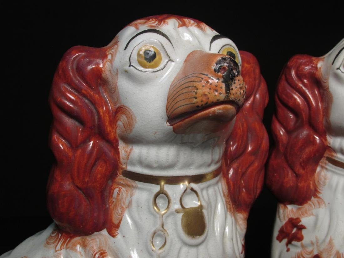 PAIR 19TH C STAFFORDSHIRE PORCELAIN SPANIELS - 2