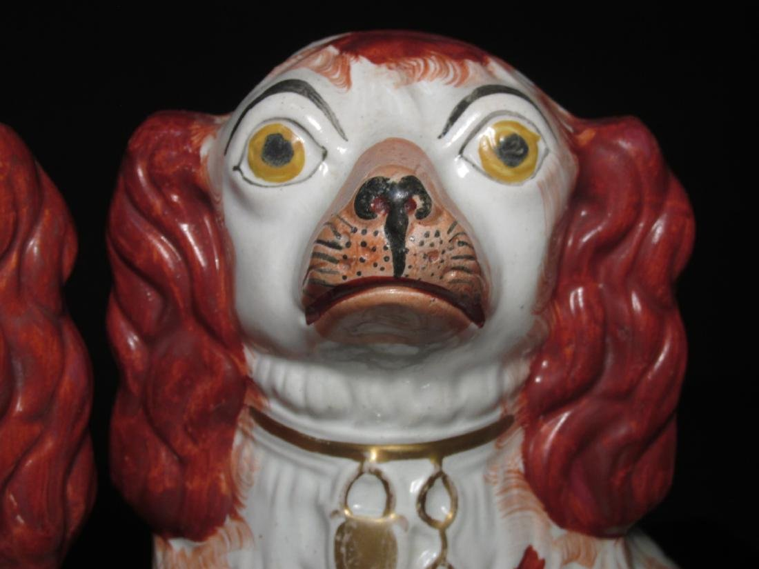 PAIR 19TH C STAFFORDSHIRE PORCELAIN SPANIELS - 3