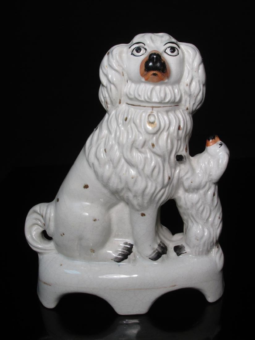 19TH C STAFFORDSHIRE SEATED SPANIEL & PUP - 6