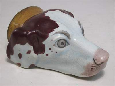 EARLY STAFFORDSHIRE PEARLWARE HOUND STIRRUP CUP
