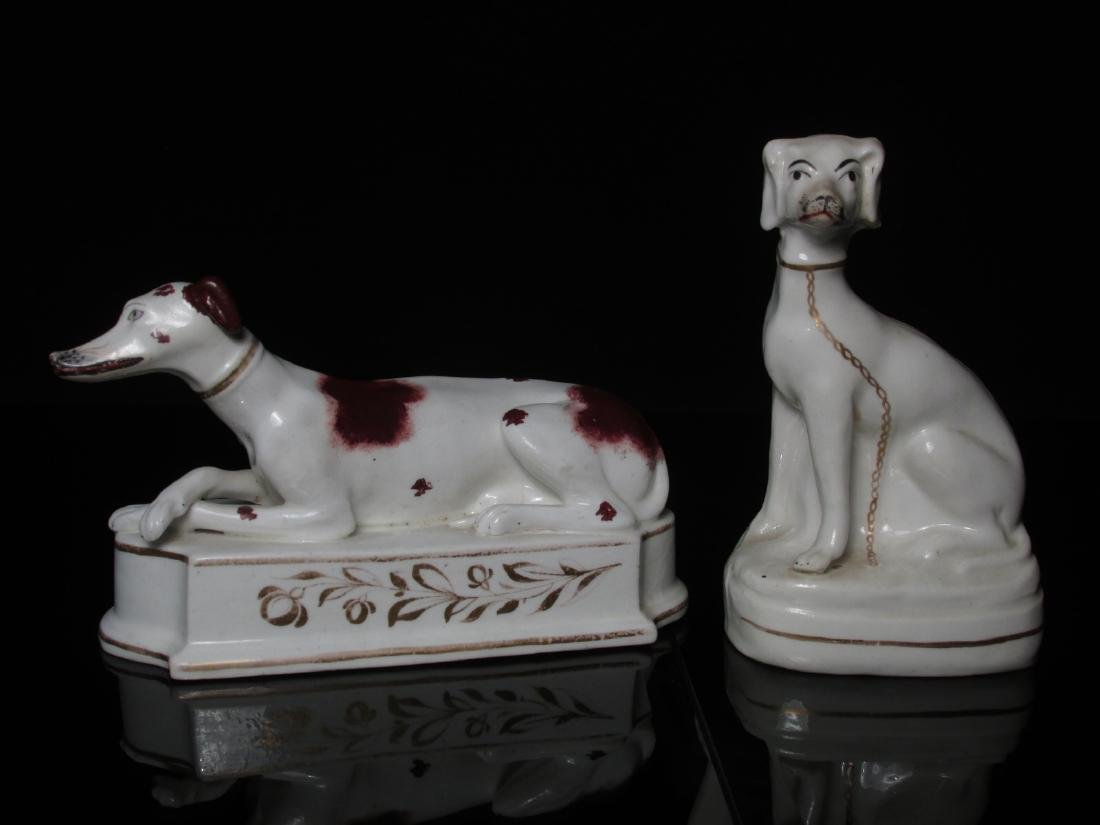 TWO STAFFORDSHIRE PORCELAIN FIGURINES: WHIPPETS