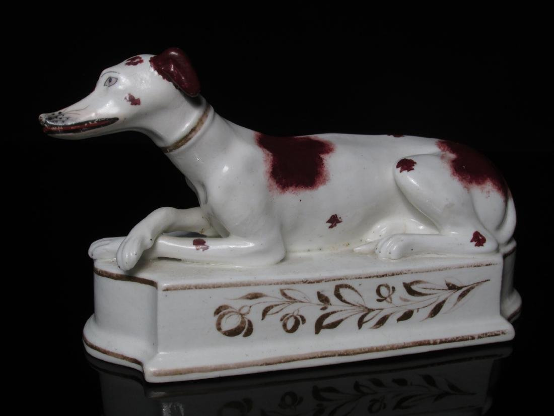 TWO STAFFORDSHIRE PORCELAIN FIGURINES: WHIPPETS - 2