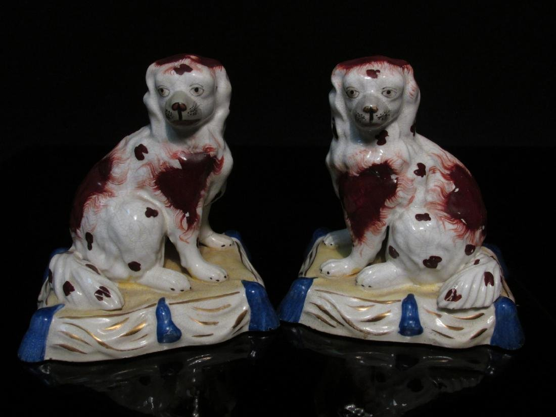 PAIR 19TH C STAFFORDSHIRE DOGS ON PILLOWS