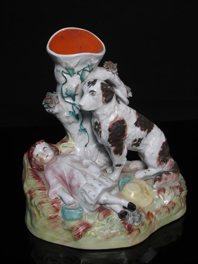 19TH C STAFFORDSHIRE PORCELAIN GIRL W/ DOG