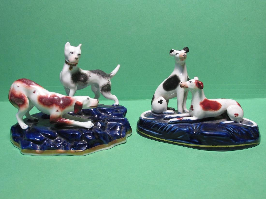TWO 19TH C STAFFORDSHIRE DUDSON FIGURAL DOG GROUPS