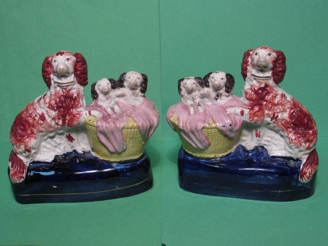 PAIR 19TH C STAFFORDSHIRE SPANIELS W/ PUPS FIGURES