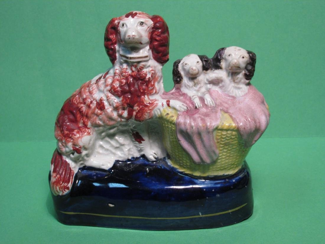 PAIR 19TH C STAFFORDSHIRE SPANIELS W/ PUPS FIGURES - 2