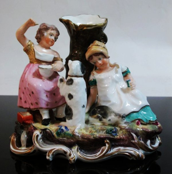 19TH C STAFFORDSHIRE FIGURAL GROUP SPILL VASE