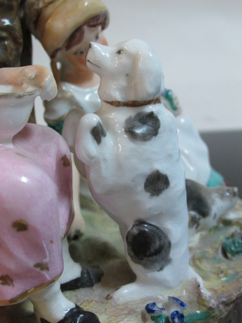19TH C STAFFORDSHIRE FIGURAL GROUP SPILL VASE - 3
