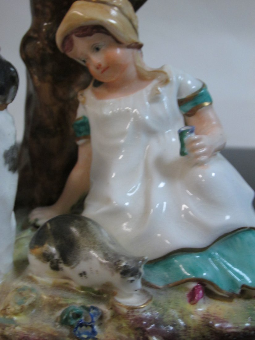 19TH C STAFFORDSHIRE FIGURAL GROUP SPILL VASE - 4