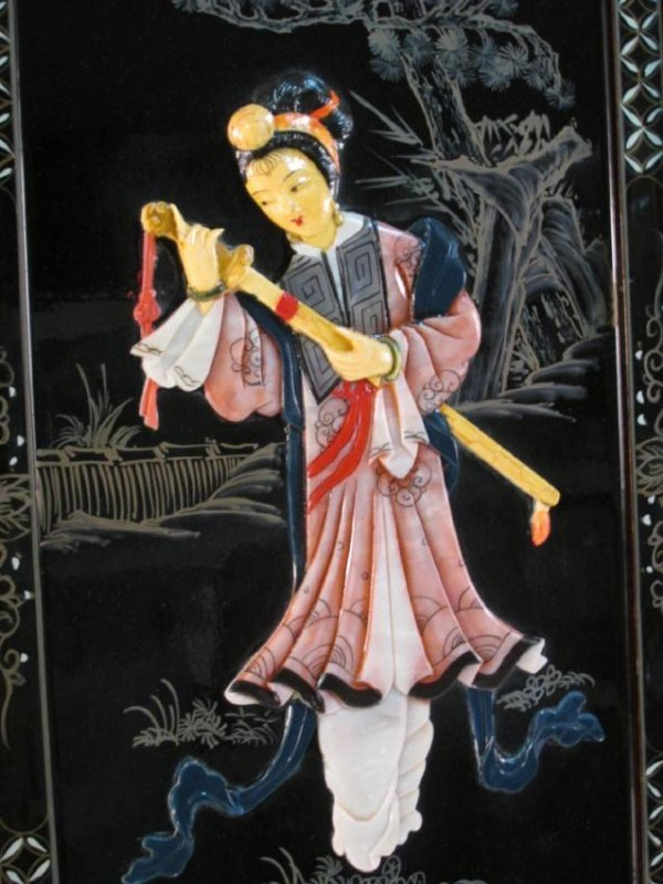 FOUR CHINESE BLACK LACQUER & STONE WALL PANELS - 2