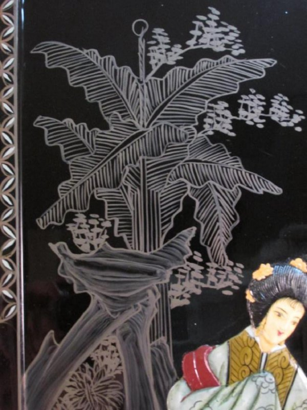 FOUR CHINESE BLACK LACQUER & STONE WALL PANELS - 4