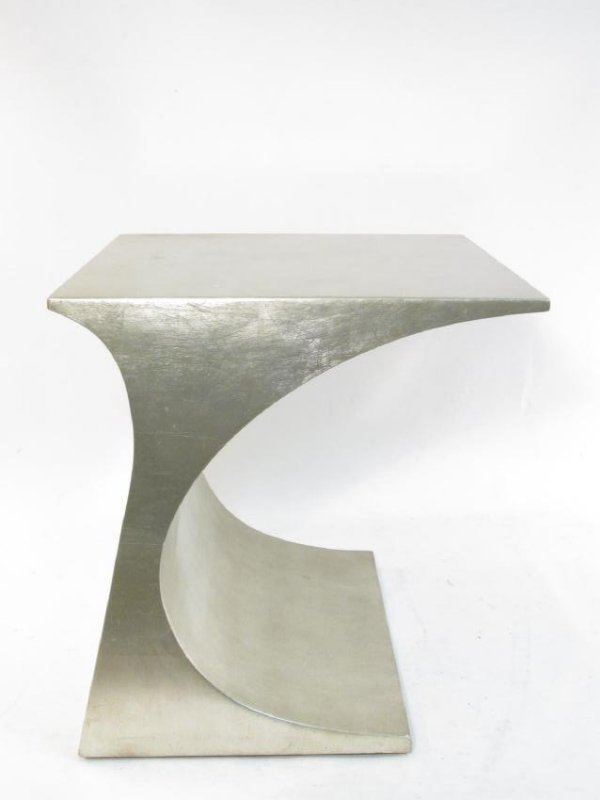 PAIR CONTEMPORARY SILVERED FINISH SIDE TABLES - 2