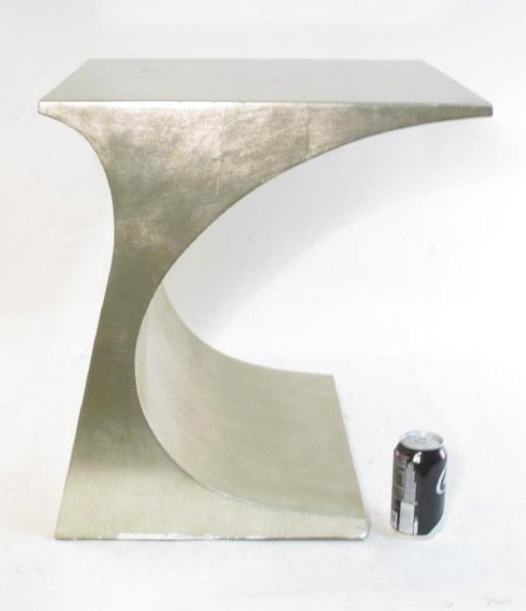PAIR CONTEMPORARY SILVERED FINISH SIDE TABLES - 5