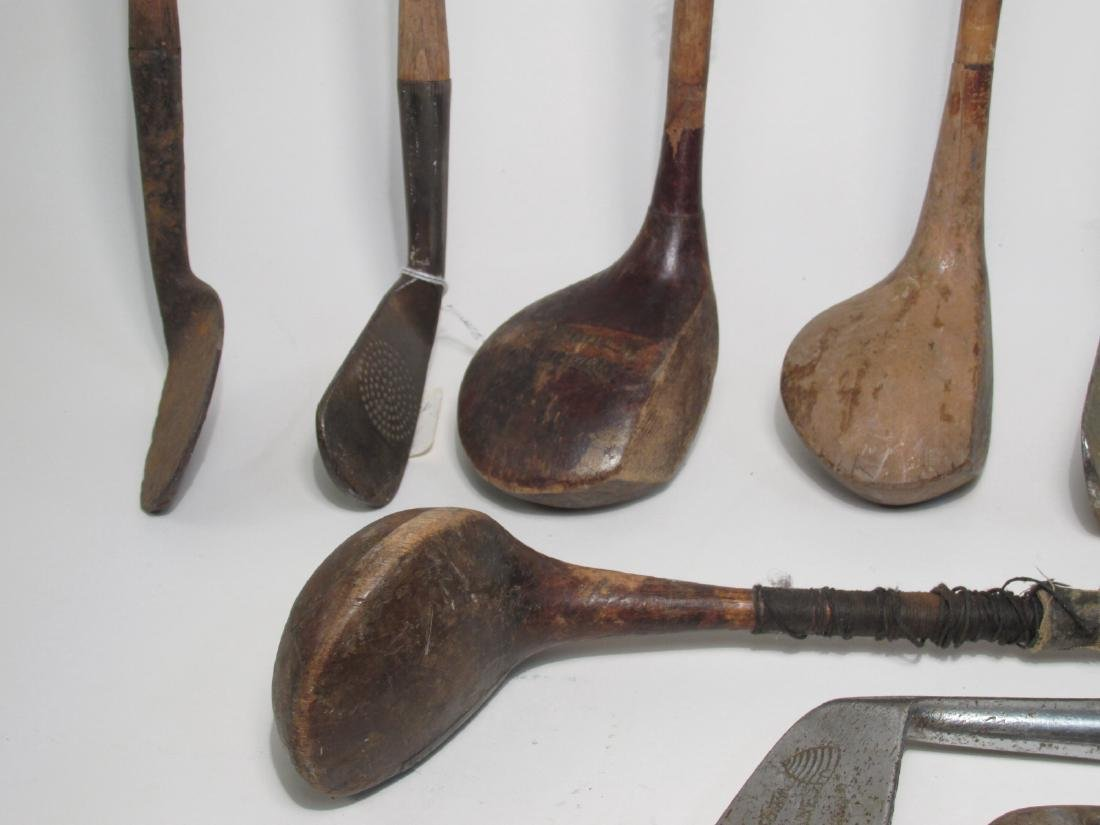 ASSORTED ANTIQUE/VINTAGE GOLF CLUBS W/ BAG - 8