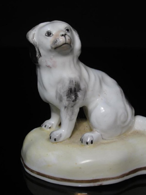 TWO 19TH C STAFFORDSHIRE PORCELAIN SPANIEL DOGS - 2